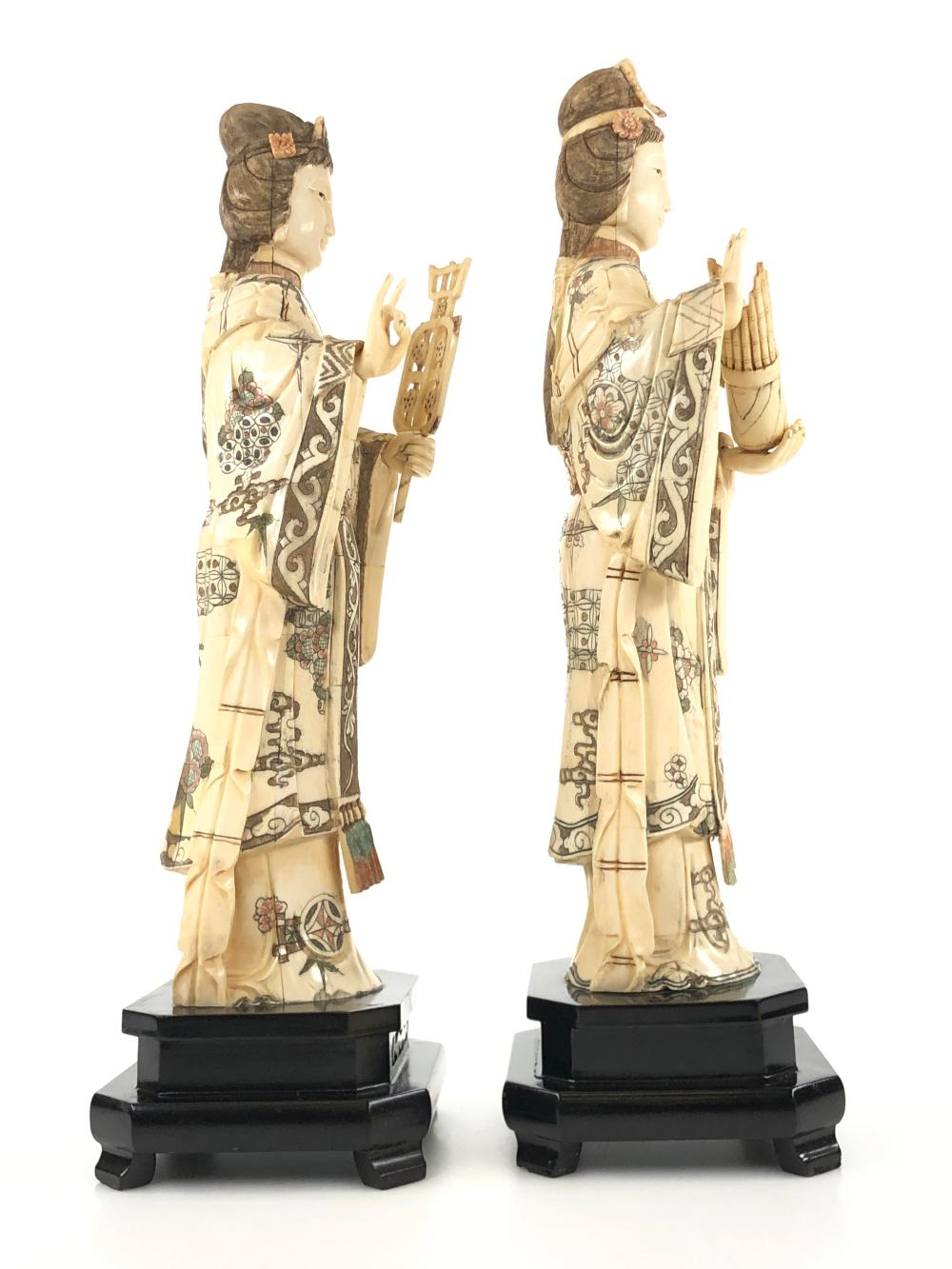 Pair Of Vintage Hand Carved Bone Geisha Statues