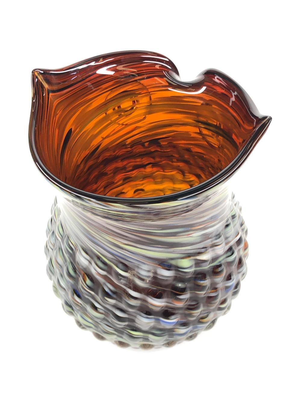 Lot Hand Blown Art Glass Multicolor Swirl Owl Vase