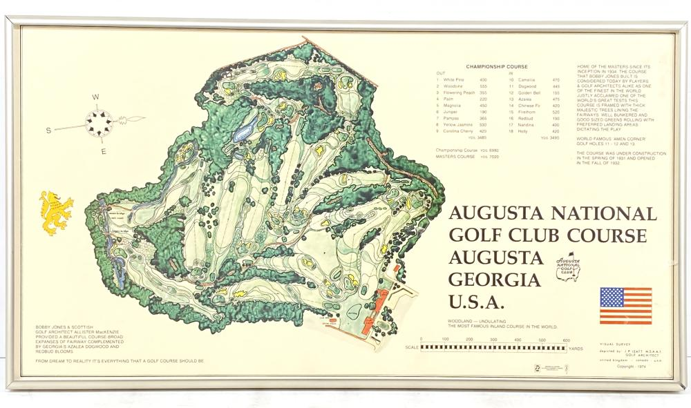 Vintage 1974 Augusta National Golf Club Course Map