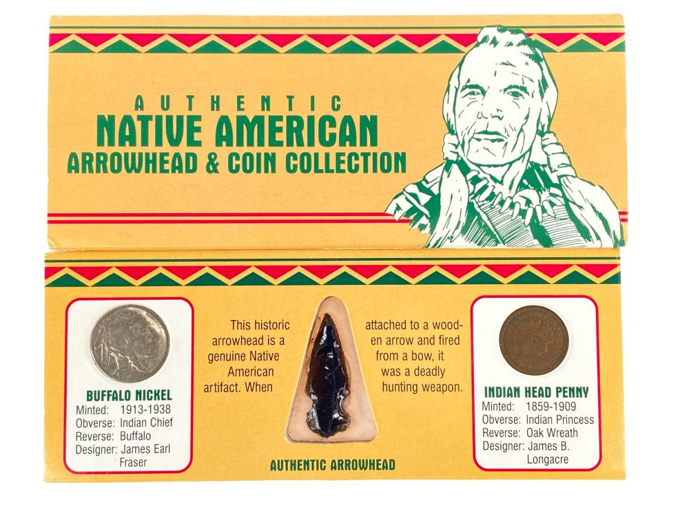 Native American Arrowhead and Coin Collection
