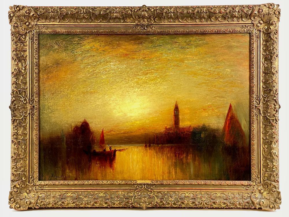 "ANTIQUE GEORGE H. BOGERT ""VENETIAN SUNSET"" OIL ON CANVAS"