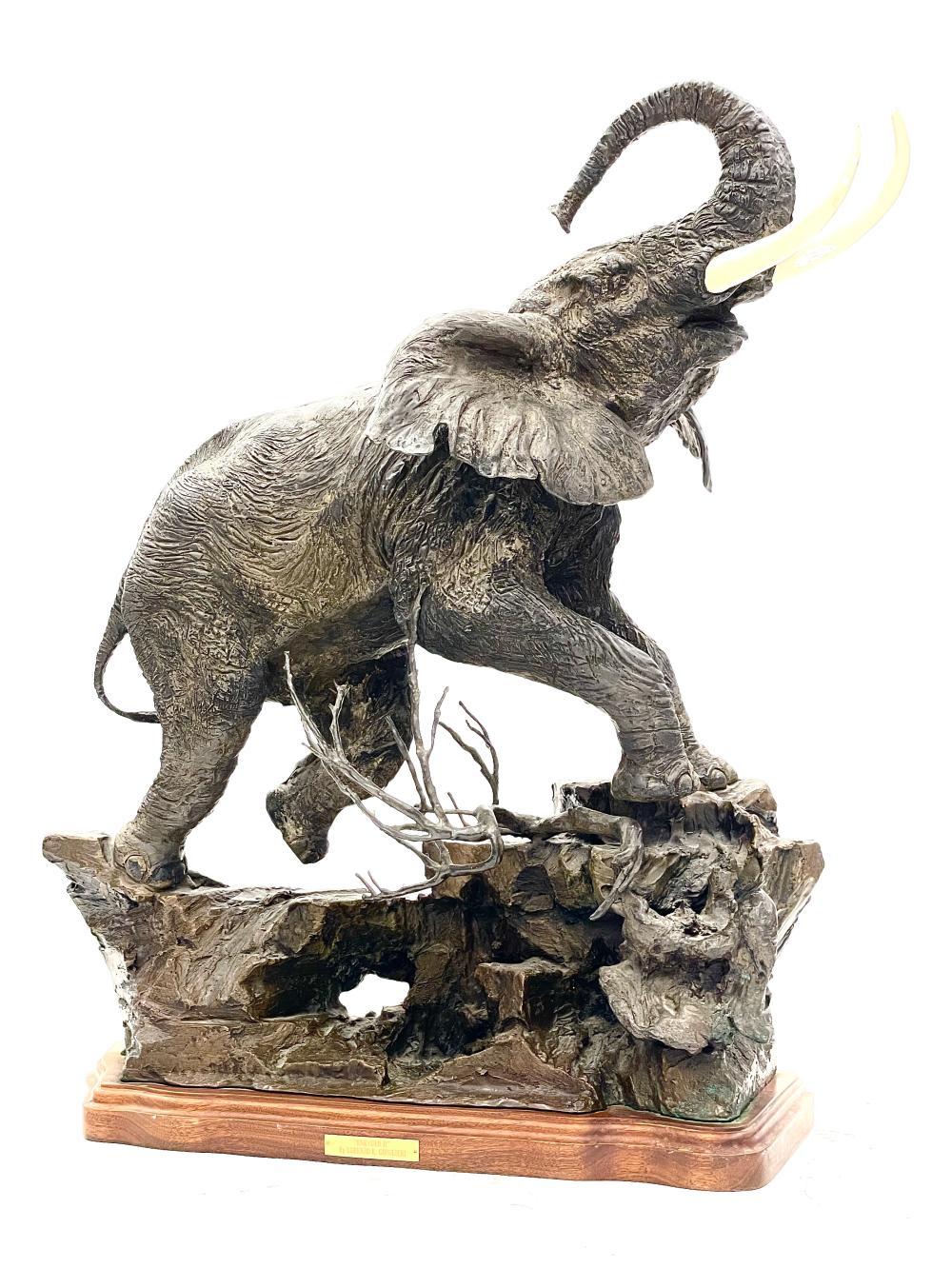 "LORENZO GHIGLIERI ""ENRAGED II"" BRONZE ELEPHANT SCULPTURE"