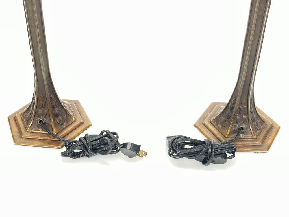 PAIR SIGNED HECTOR GUIMARD ART NOUVEAU CRYSTAL TUBE AMBER GLASS ACCENTS BRONZE TABLE LAMPS
