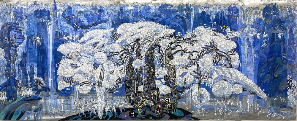 """MONUMENTAL JIANG TIEFENG """"STONE FOREST"""" ORIGINAL MIXED MEDIA ON PAPER $70,000 GALLERY PRICE!"""