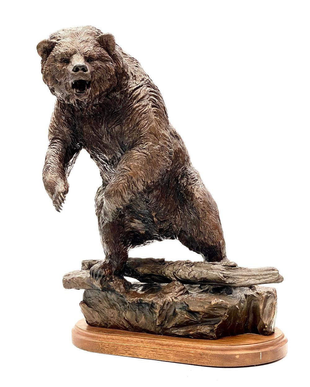 """LORENZO GHIGLIERI """"AUTHORITY OF THE WILD"""" LIMITED EDITION BRONZE GRIZZLY BEAR SCULPTURE"""