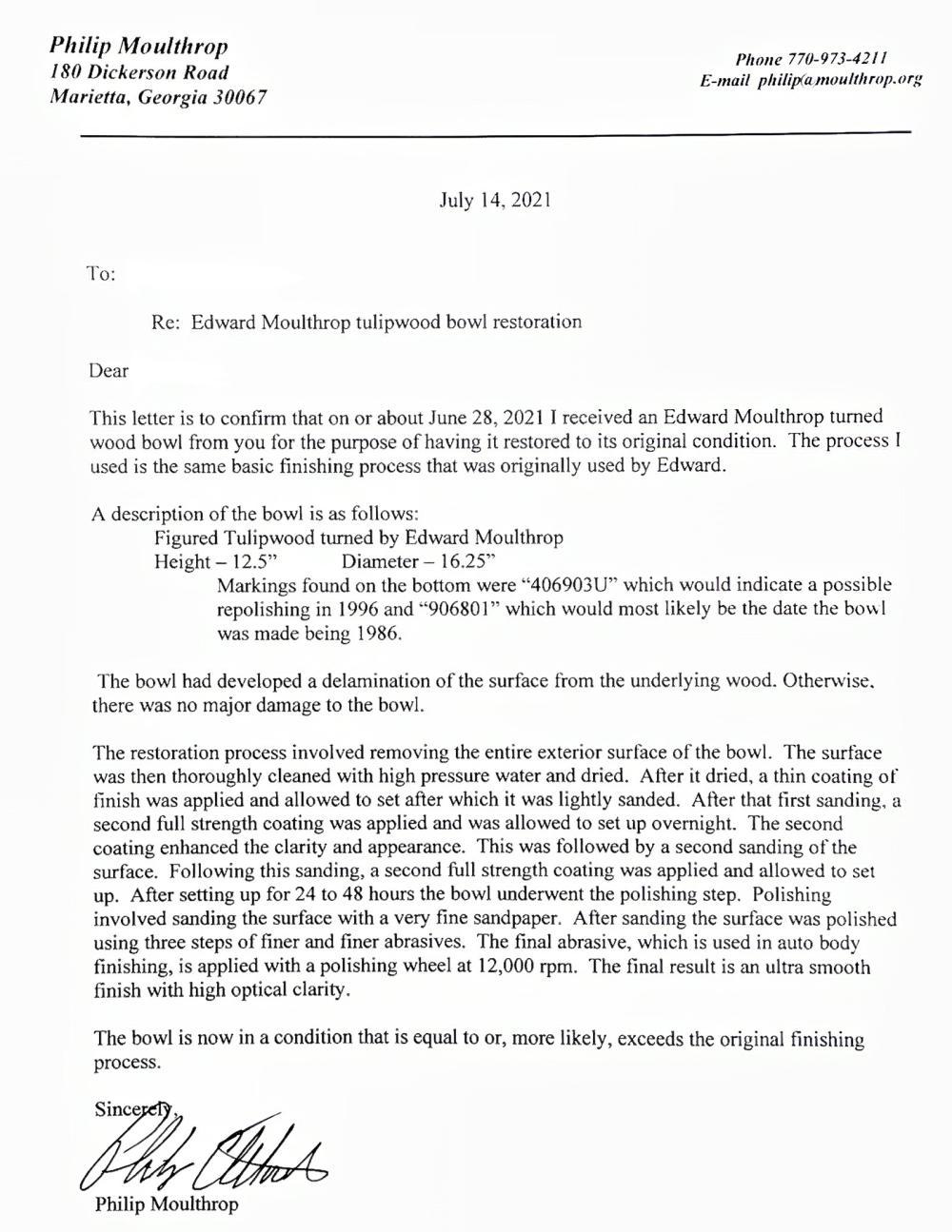 EDWARD MOULTHROP LARGE TURNED TULIPWOOD BOWL NEAR FLAWLESS!