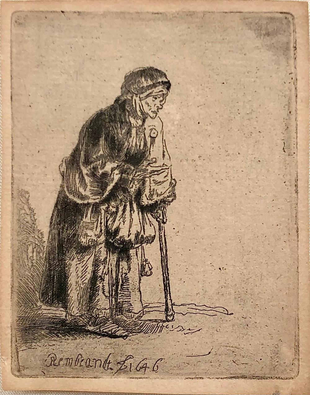 """REMBRANDT """"BEGGAR WOMAN LEANING ON A STICK"""" DRYPOINT ETCHING"""