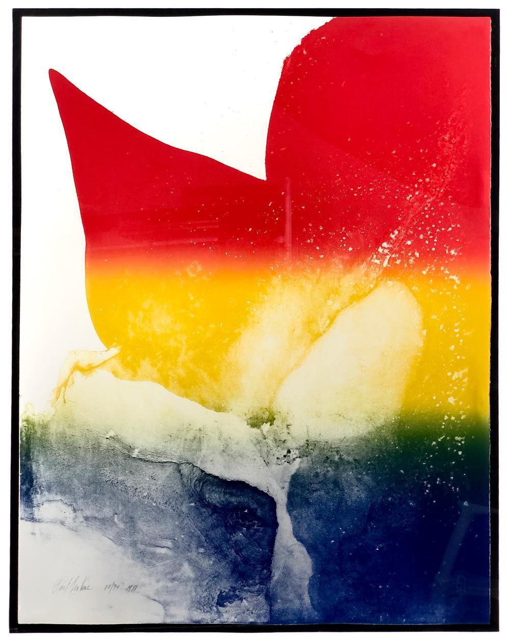 "PAUL JENKINS ""CARDINAL PRISM"" COLOR LITHOGRAPH"
