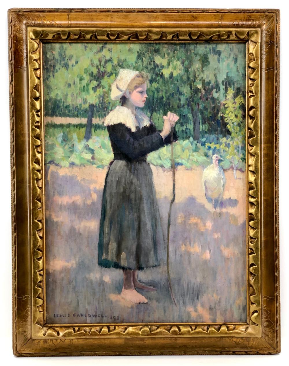 LESLIE GIFFEN CAULDWELL YOUNG BRETON GIRL OIL ON CANVAS