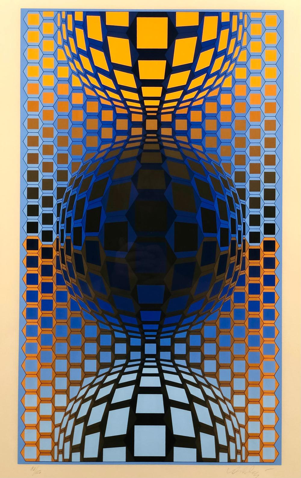 """VICTOR VASARELY """"THREE SPHERES"""" SIGNED SCREENPRINT"""