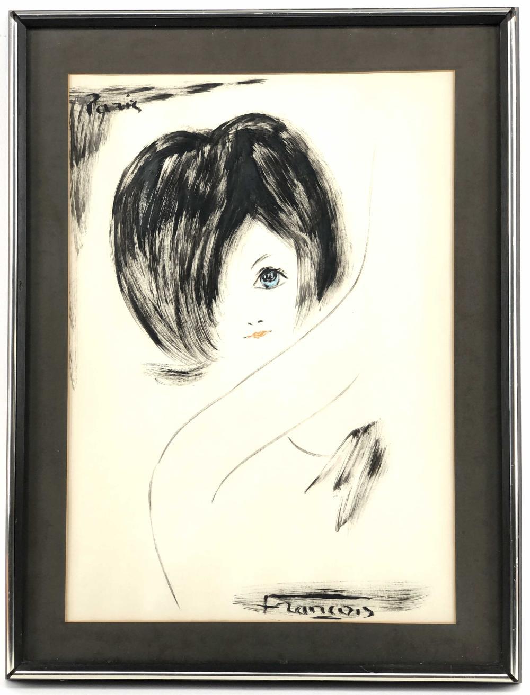 ANDRE FRANCOIS FEMALE PORTRAIT WATERCOLOR & INK
