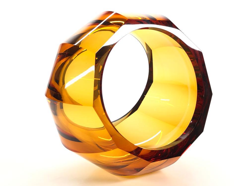 MOSER AMBER IKEBANA AURA HAND CUT GLASS BOWL