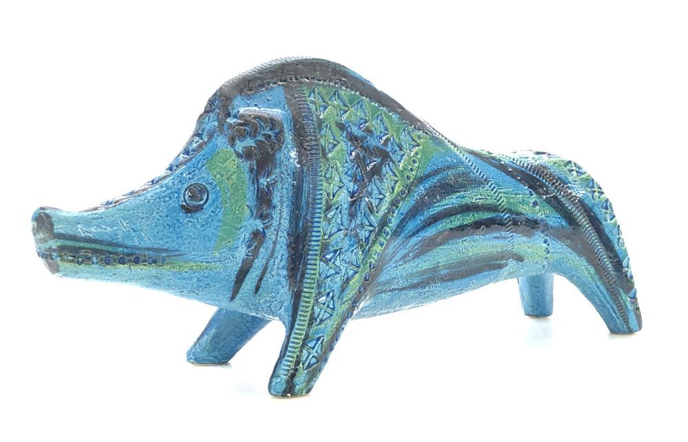 VINTAGE BITOSSI ALDO LONDI MID CENTURY MODERN RIMINI BLUE CINGHIALE (BOAR)