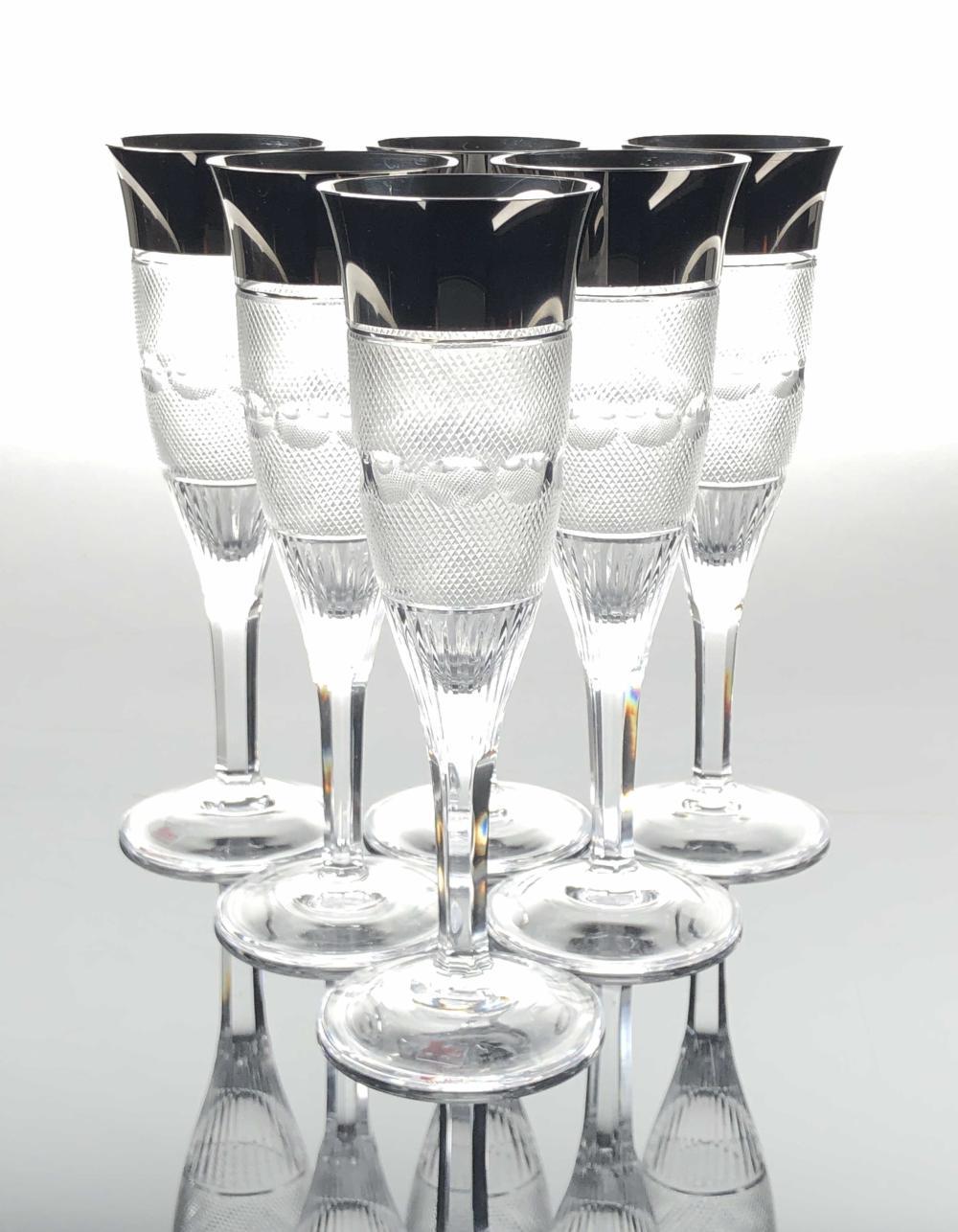6PC MOSER SPLENDID PLATINUM TRIMMED FLUTED CHAMPAGNE GLASSES