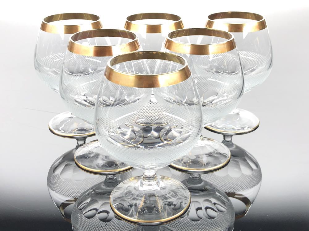 6PC MOSER 24K GOLD TRIMMED ROYAL SNIFTER GLASSES