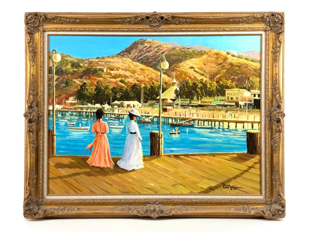 """ROBERT PETER WILLIAMS """"VIEW FROM THE PIER"""" OIL ON CANVAS"""