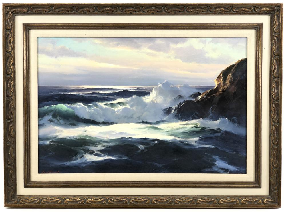 """EARL DANIELS """"AFTERNOON SURF"""" OIL ON CANVAS"""