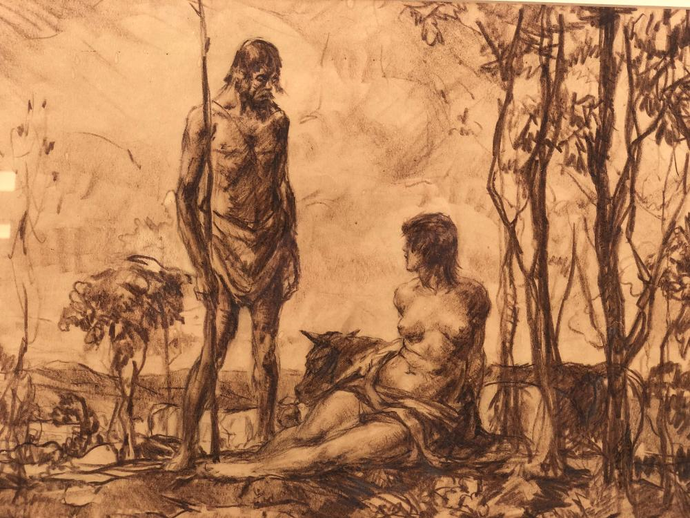 FRANK VAN SLOUN MALE & FEMALE OIL PASTEL ON PAPER