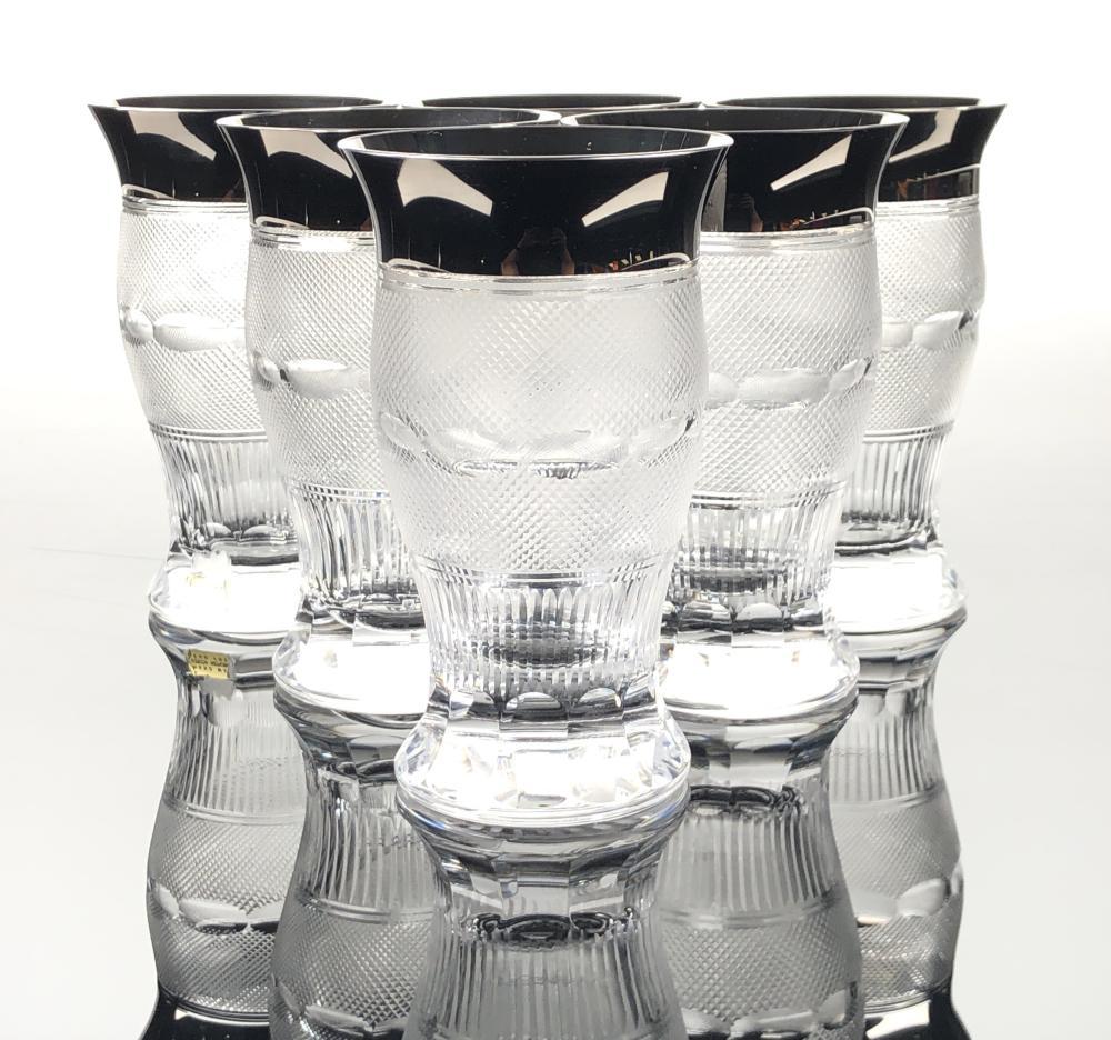 6PC MOSER SPLENDID PLATINUM TRIMMED WATER GLASSES