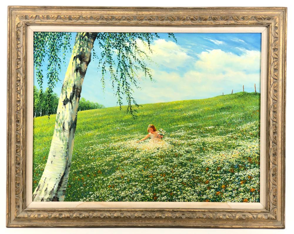 """ALLAN K. HUSBERG """"MY MEADOW"""" OIL ON CANVAS"""