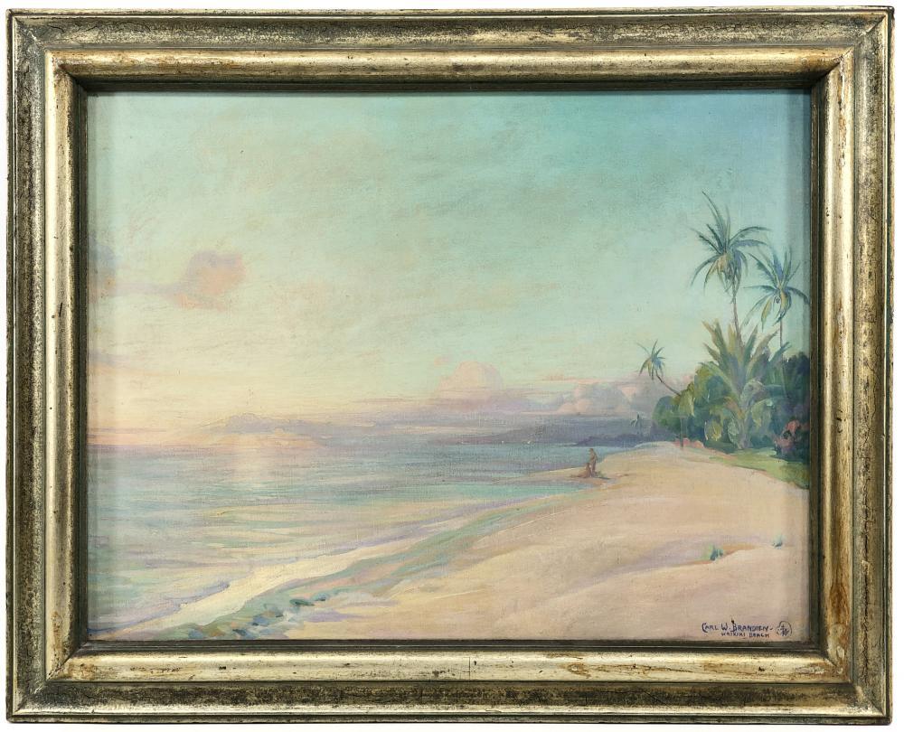 """CARL BRANDIEN """"SUNSET WAIKIKI BEACH"""" OIL ON CANVAS"""