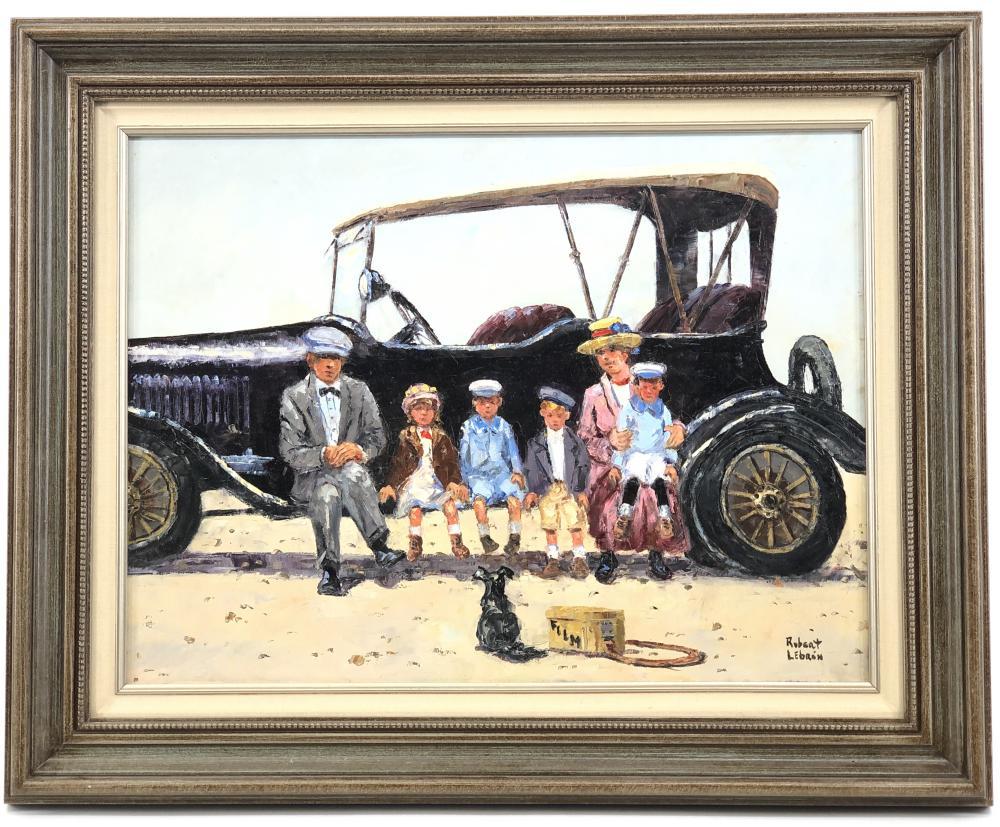 ROBERT LEBRON FAMILY PORTRAIT OIL ON CANVAS