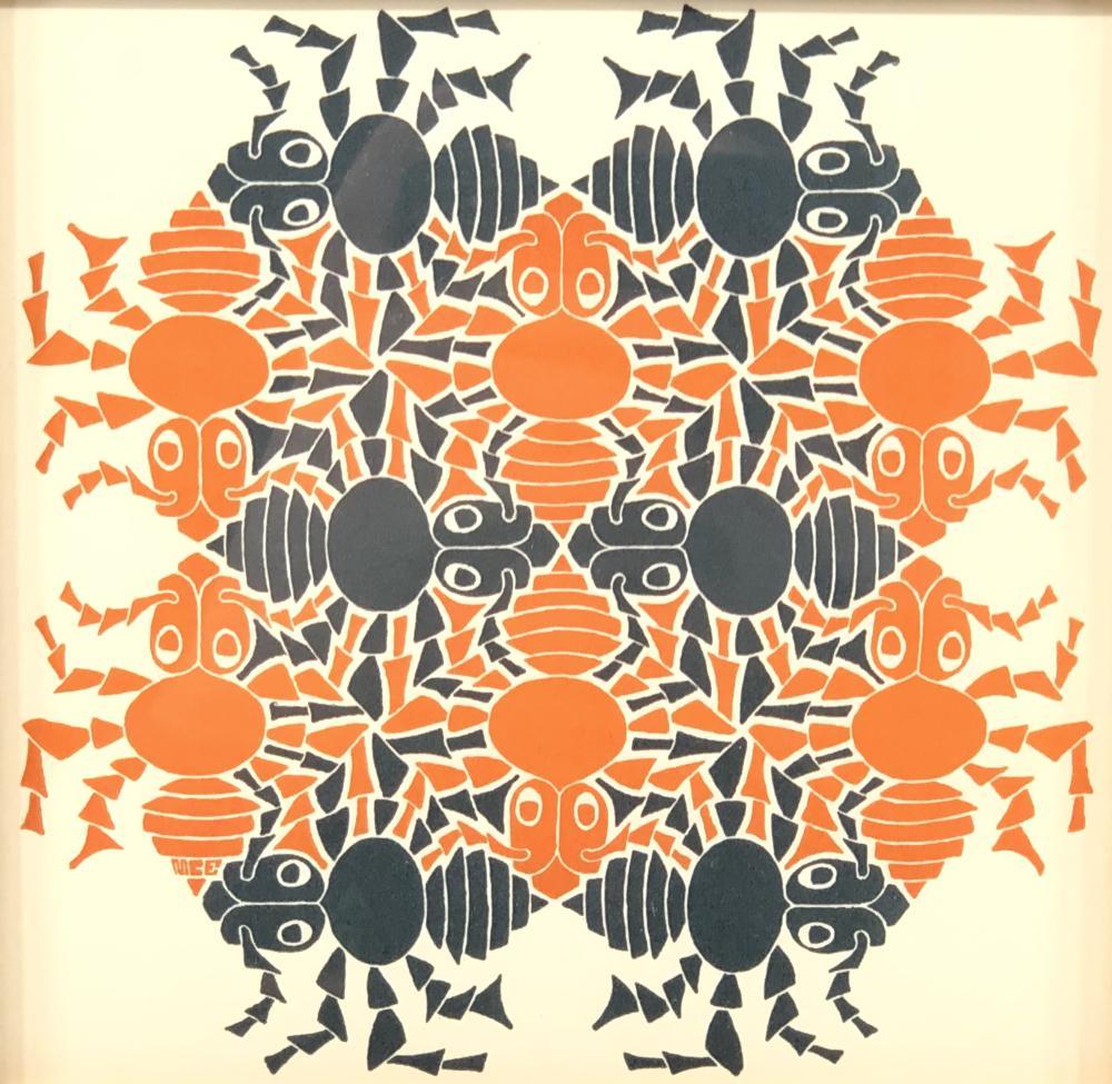 "CIRC 1953 M.C. ESCHER ELEMENTS SUITE ""EARTH"" WOODCUT ON PAPER RARE COLOR VARIATION!"