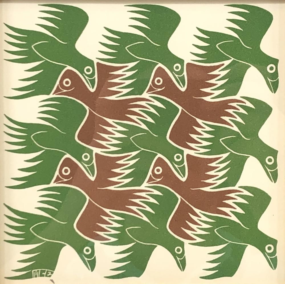 """CIRC 1953 M.C. ESCHER ELEMENTS SUITE """"AIR"""" WOODCUT ON PAPER"""