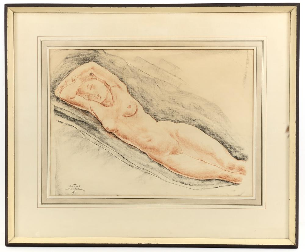 FRANZ GRUSS LYING NUDE WOMAN PASTEL & CHARCOAL ON PAPER