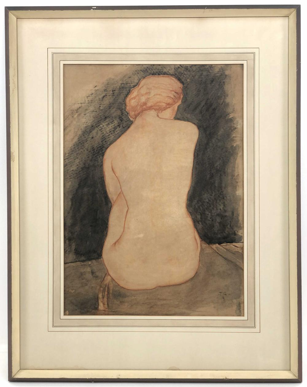 FRANZ GRUSS NUDE WOMAN PASTEL & CHARCOAL ON PAPER