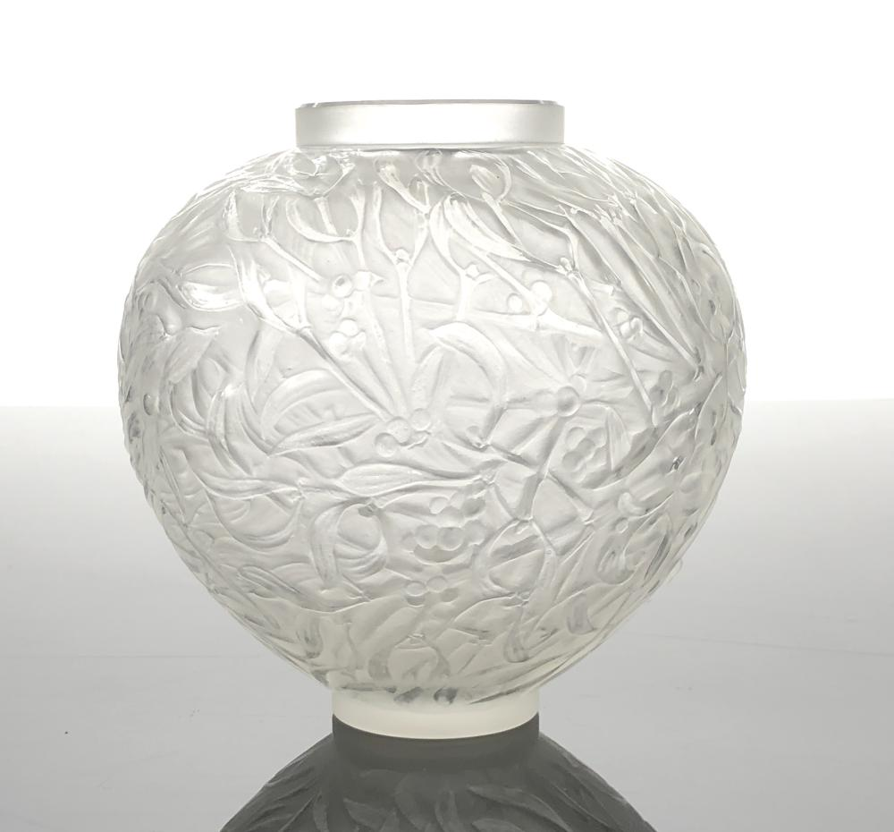 EARLY RENE LALIQUE GUI FROSTED CRYSTAL VASE
