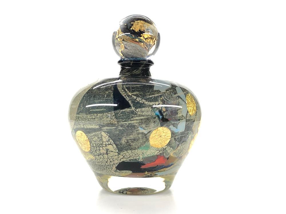 JEAN CLAUDE NAVARO GOLD LEAF GLASS PERFUME BOTTLE