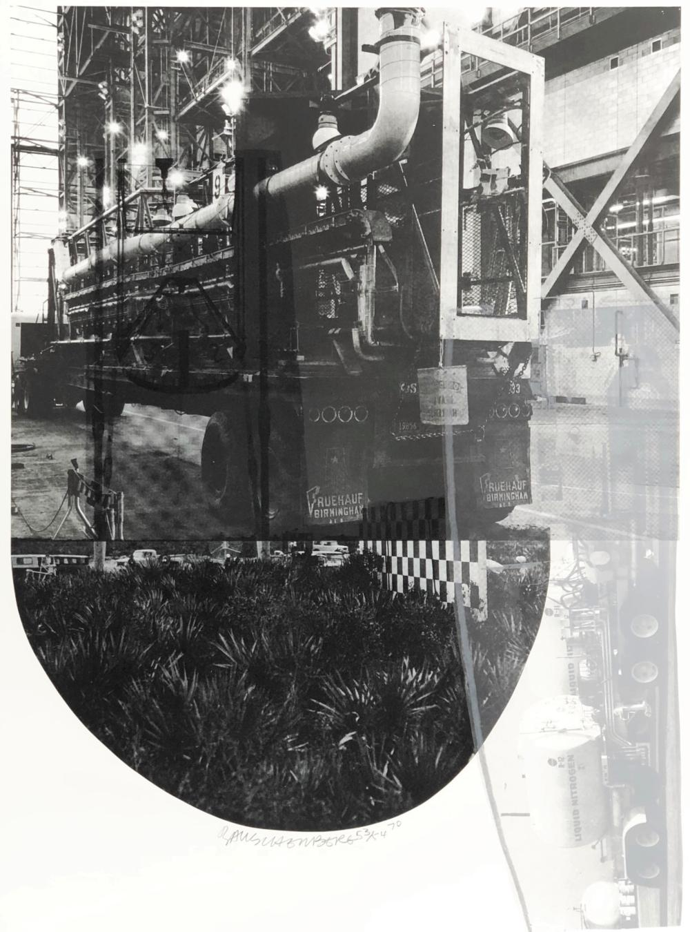 """ROBERT RAUSCHENBERG """"TRACKS, FROM STONED MOON SERIES"""" (G. 200; F. 100) LITHOGRAPH"""