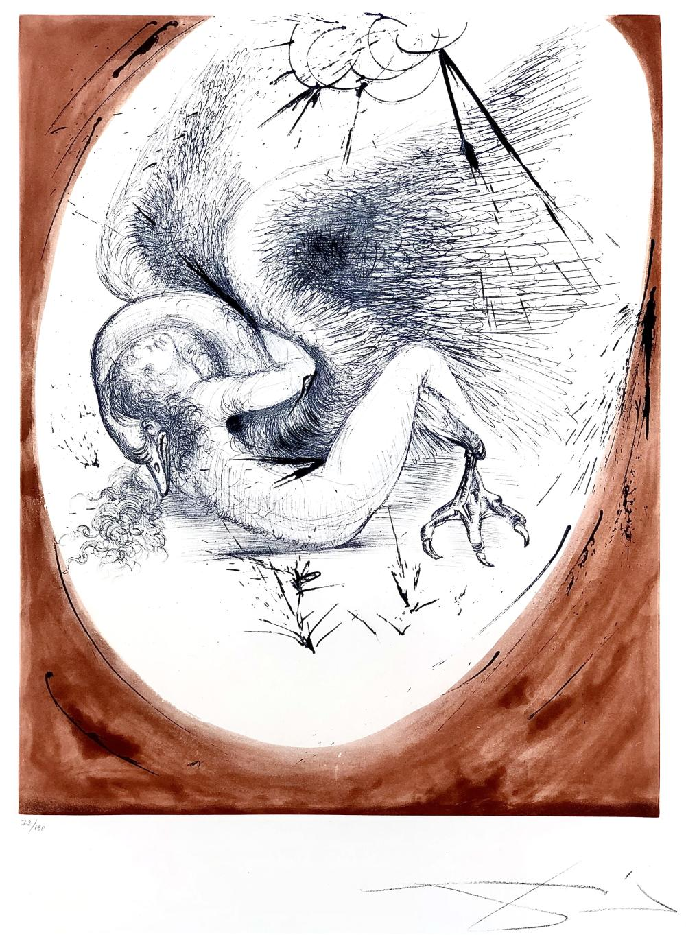 """SALVADOR DALI """"LEDA AND THE SWAN"""" AQUATINT DRYPOINT ETCHING SIGNED"""