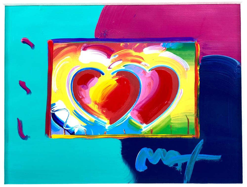 """PETER MAX """"TWO HEARTS ON BLENDS"""" ACRYLIC & COLOR SIGNED LITHOGRAPH"""