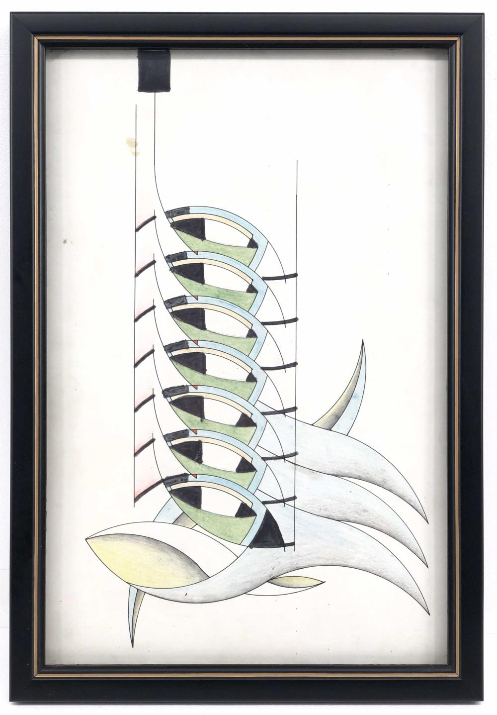 JACK JUSTICE MID-CENTURY COMPOSITION INK & COLORED PENCIL ON PAPER