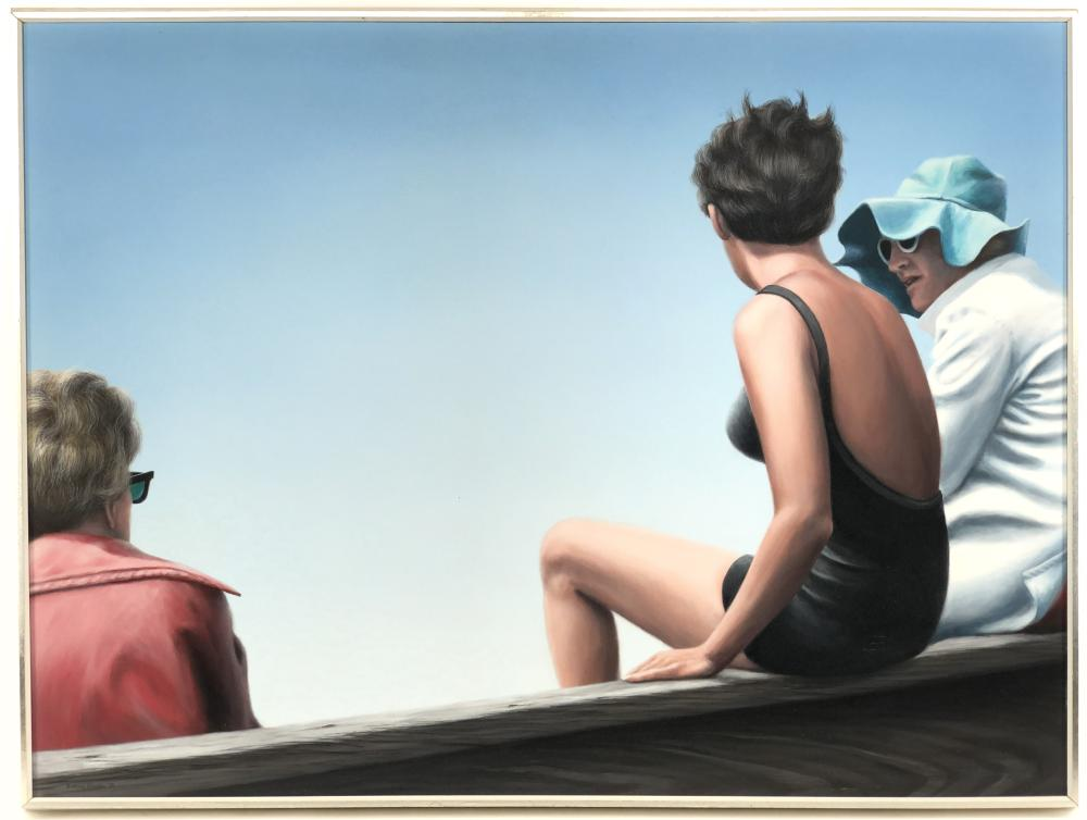 BARCLAY SHEAKS THREE WOMEN CONVERSING ACRYLIC ON MASONITE