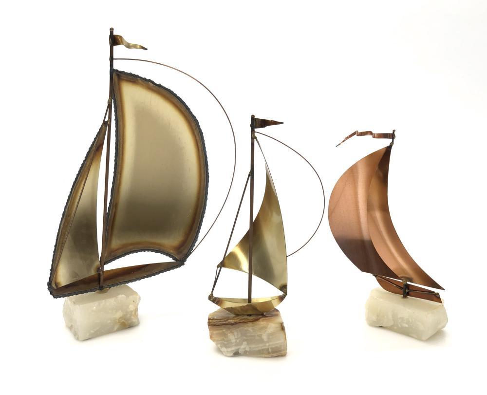 3PC MID-CENTURY MODERN STYLE JOHN DEMOTT & MARIO JASON BRASS COPPER ONYX SAILBOAT SCULPTURES