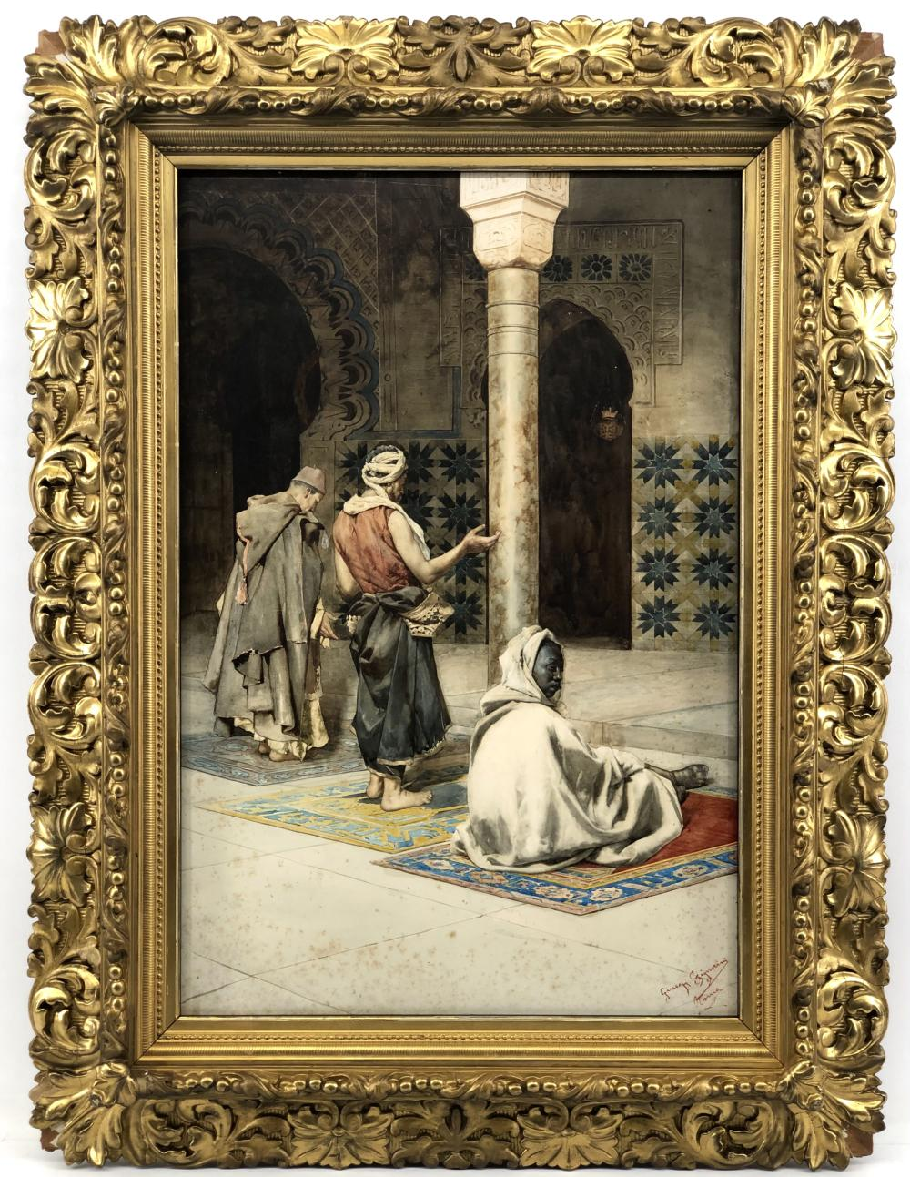 "GIUSEPPE SIGNORINI ""PRAYER AT THE MOSQUE"" WATERCOLOR ON PAPER"