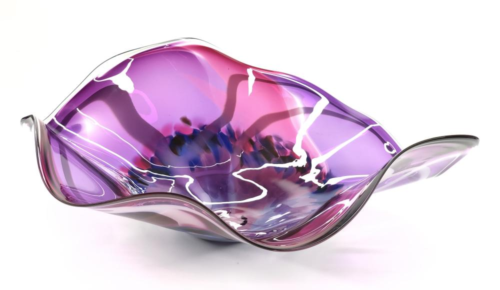 LARGE ROSS NEDER PINK & BLUE ABSTRACT ART GLASS BOWL