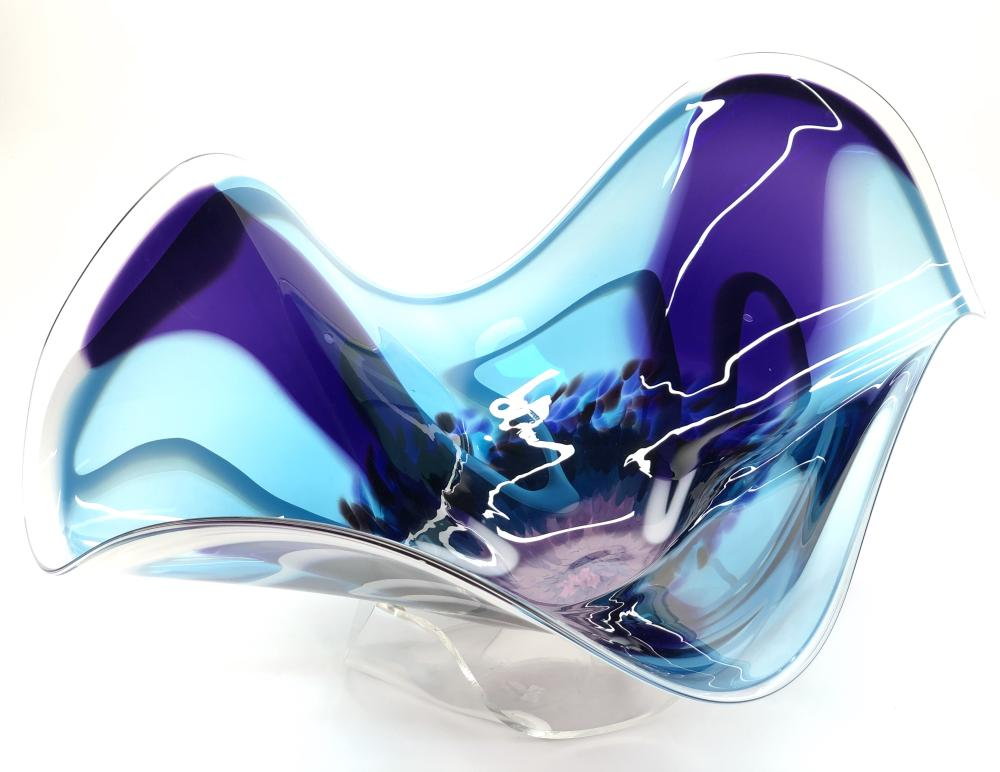 LARGE ROSS NEDER BLUE & PURPLE ABSTRACT ART GLASS BOWL