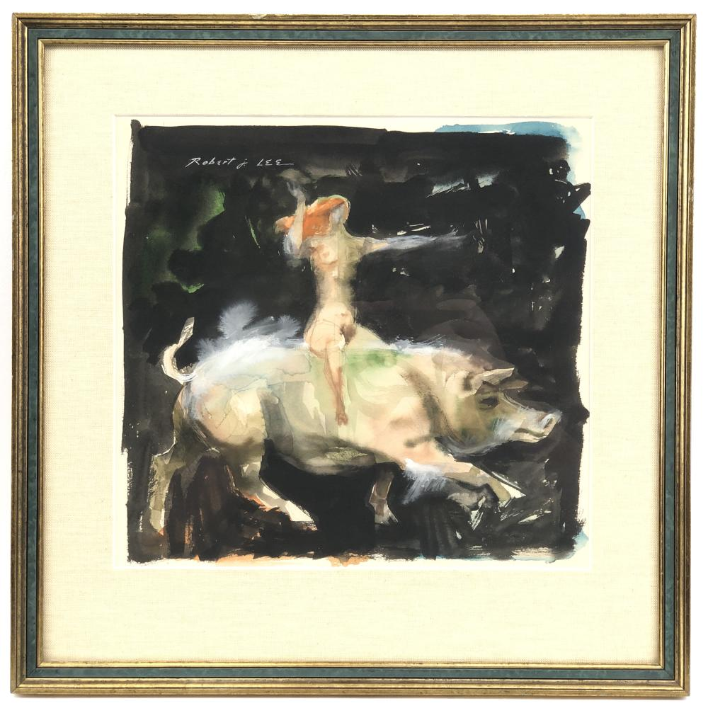 ROBERT J LEE LADY RIDING A PIG WATERCOLOR ON PAPER