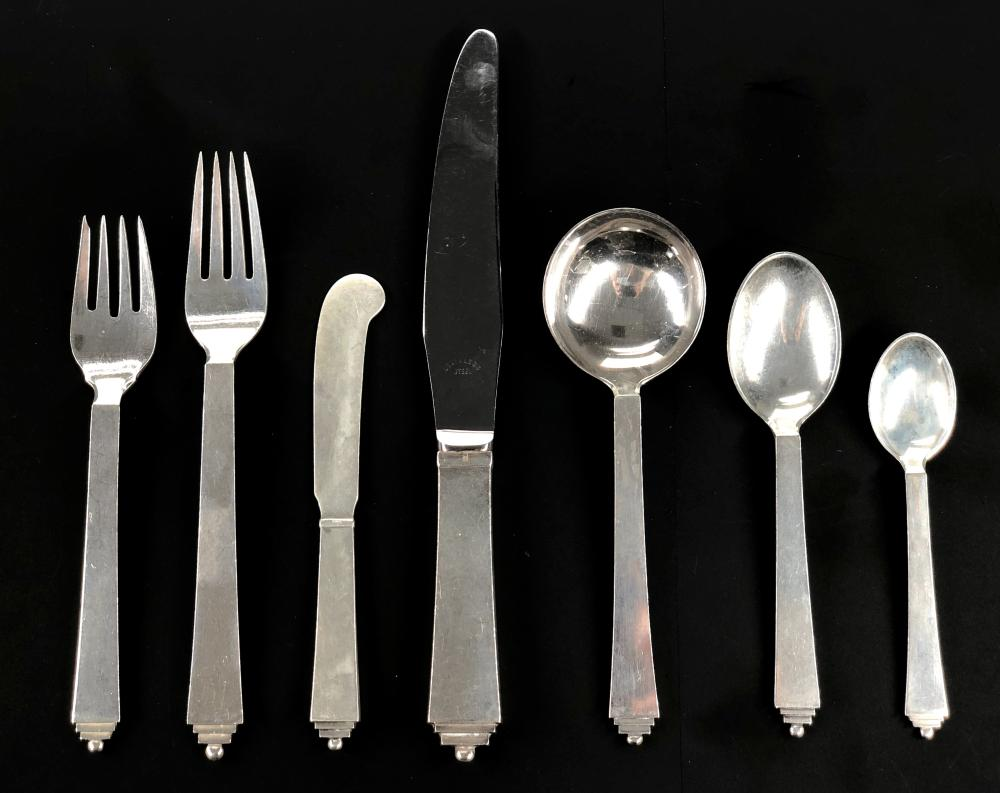 """84PC GEORG JENSEN """"PYRAMID"""" STERLING SILVER FLATWARE SERVICE FOR 12"""