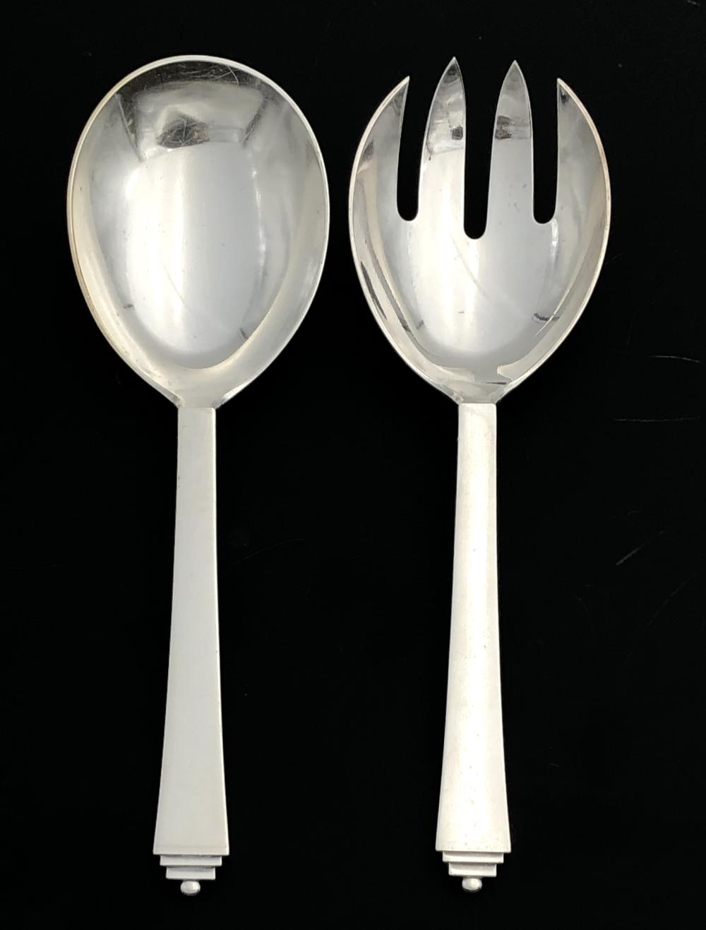 2PC GEORG JENSEN PYRAMID STERLING SILVER SERVING SPOON & FORK