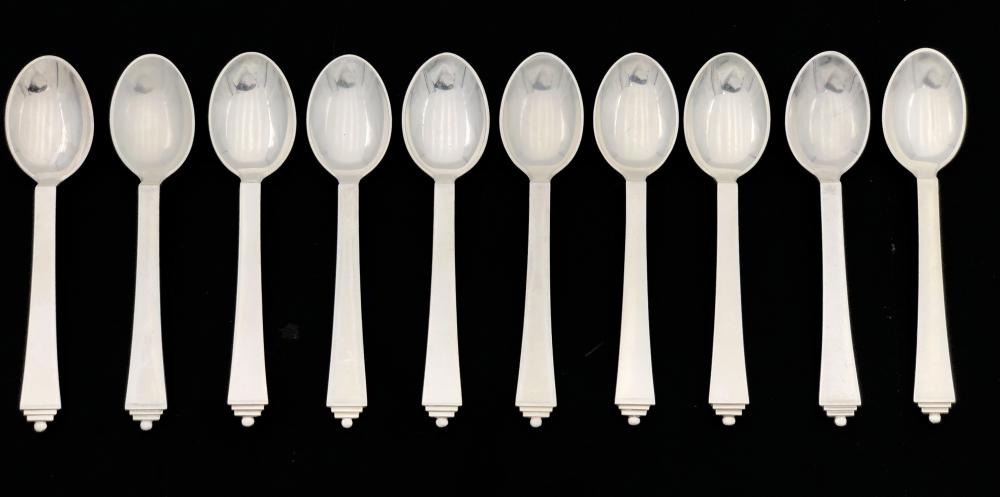 10PC GEORG JENSEN PYRAMID STERLING SILVER SPOONS