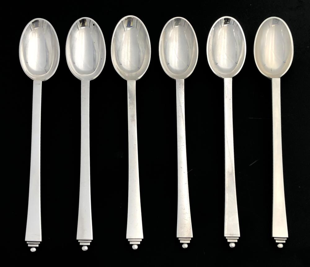 6PC GEORG JENSEN PYRAMID STERLING SILVER ICED TEA SPOONS