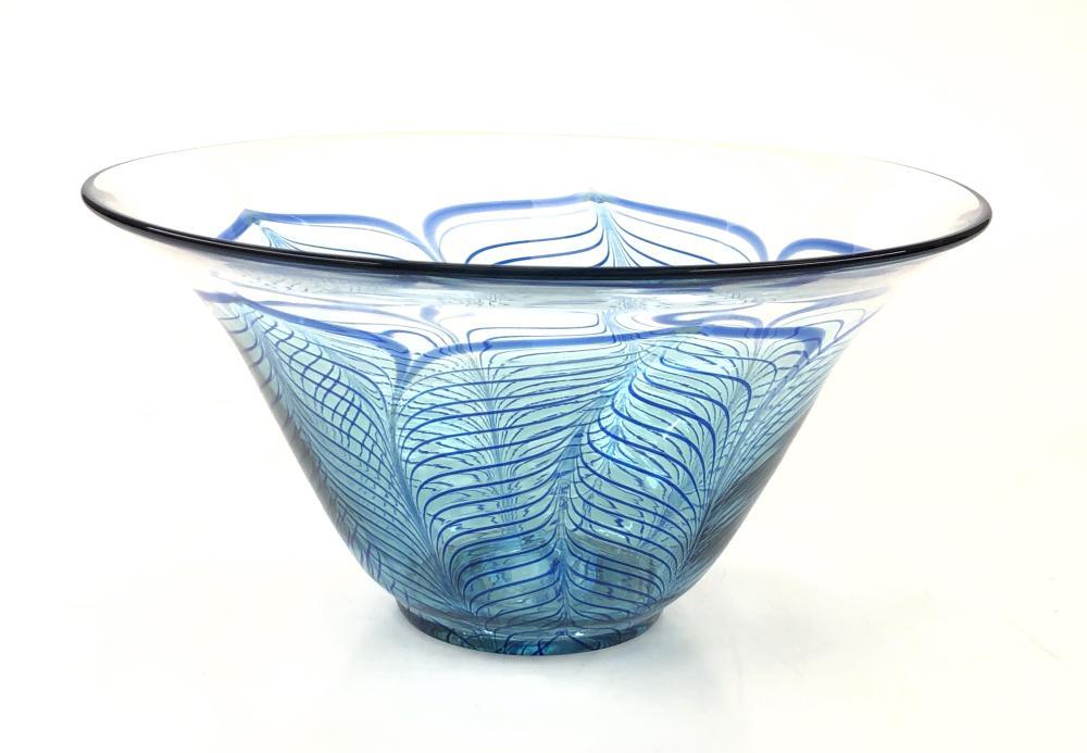 ZELLIQUE STUDIO PULLED FEATHER ART GLASS BOWL