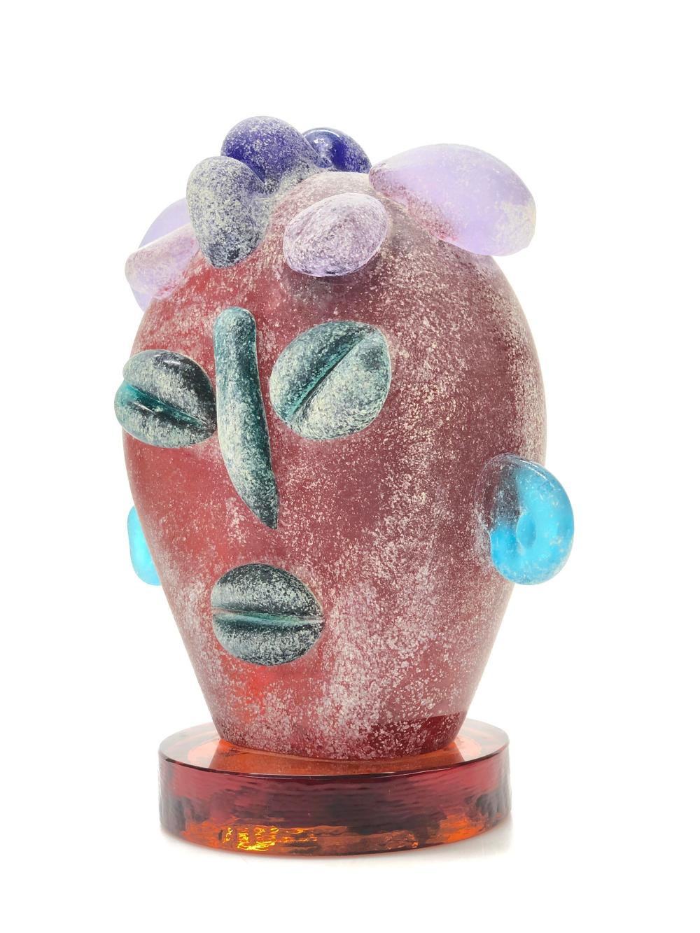 ABSTRACT ETCHED FUSED GLASS SCULPTURAL ART GLASS BUST