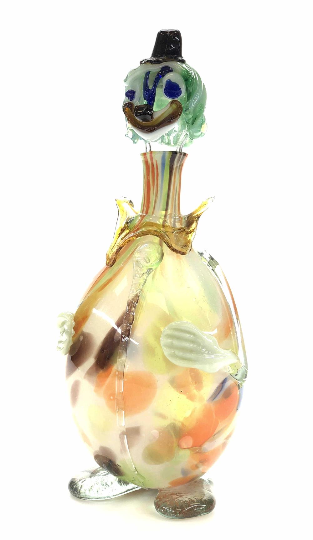 VINTAGE MURANO ART GLASS MULTI COLOR CLOWN DECANTER