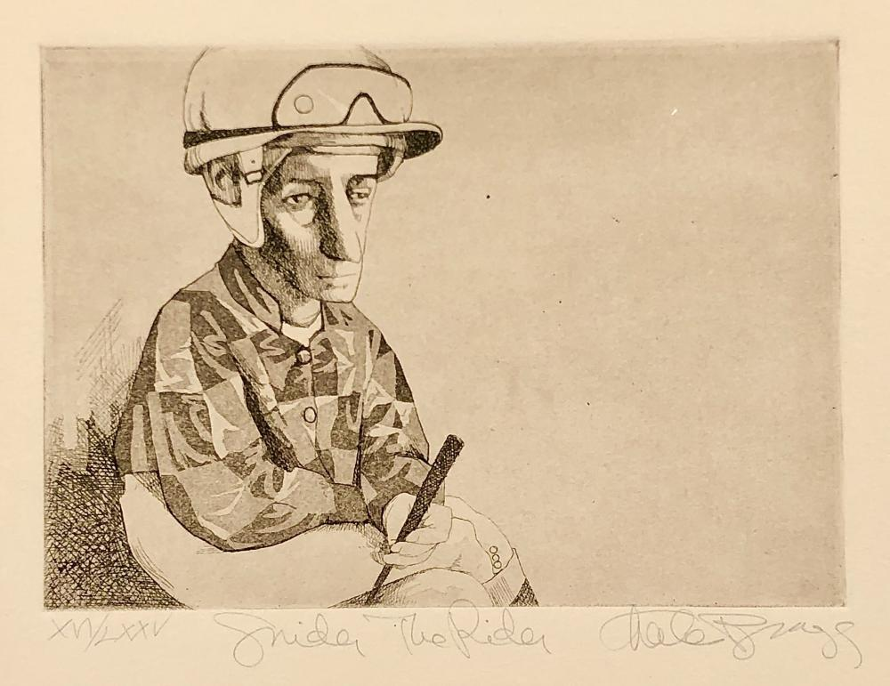 """CHARLES BRAGG """"SNIDER THE RIDER"""" SIGNED ETCHING"""
